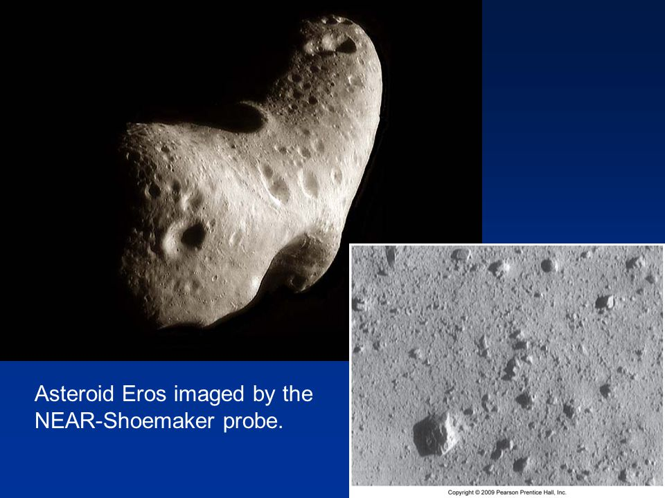 Asteroid Eros imaged by the NEAR-Shoemaker probe.