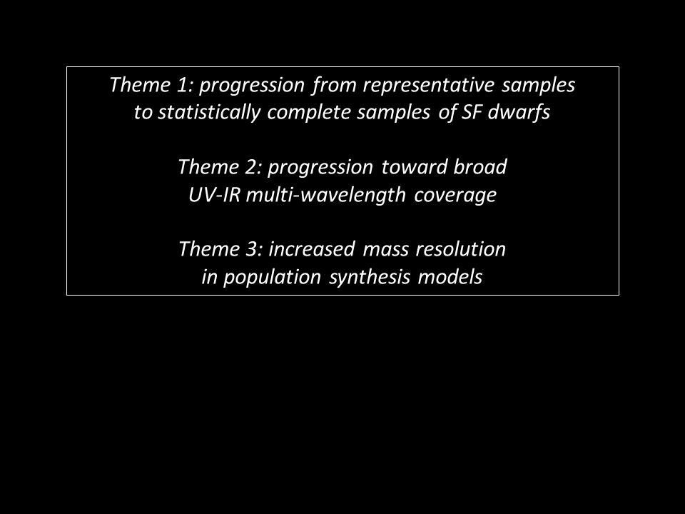 Theme 1: progression from representative samples to statistically complete samples of SF dwarfs Theme 2: progression toward broad UV-IR multi-wavelength coverage Theme 3: increased mass resolution in population synthesis models