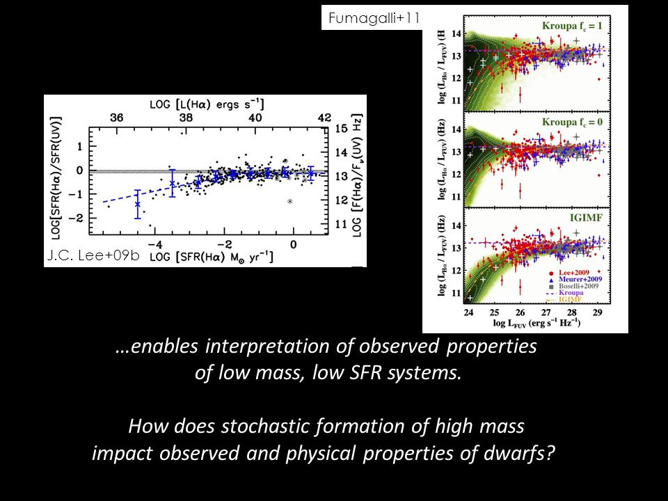 …enables interpretation of observed properties of low mass, low SFR systems.