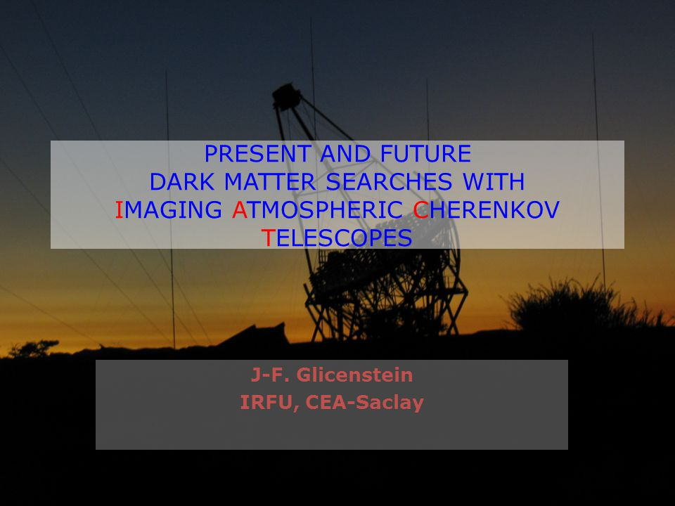 PRESENT AND FUTURE DARK MATTER SEARCHES WITH IMAGING ATMOSPHERIC CHERENKOV TELESCOPES J-F.