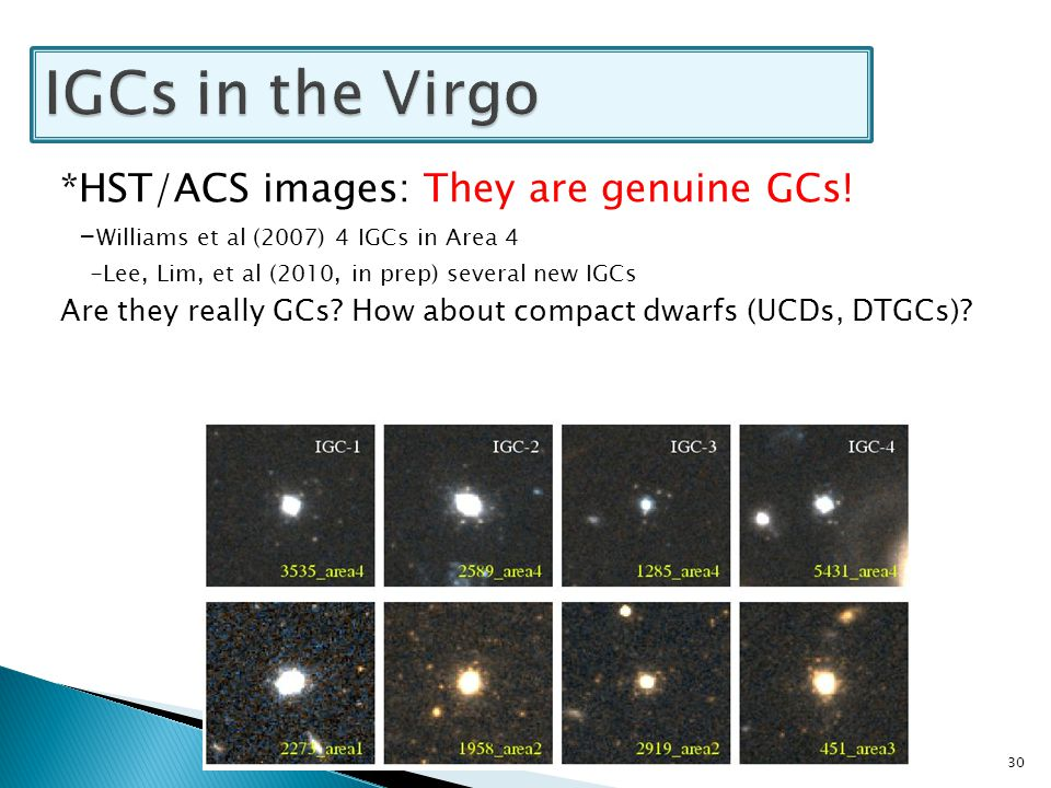 *HST/ACS images: They are genuine GCs! - Williams et al (2007) 4 IGCs in Area 4 -Lee, Lim, et al (2010, in prep) several new IGCs Are they really GCs?
