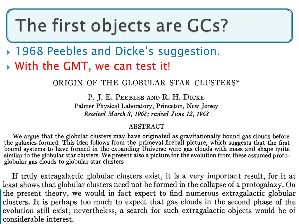 32  1968 Peebles and Dicke's suggestion.  With the GMT, we can test it!