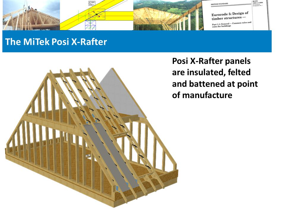 The MiTek Posi X-Rafter Posi X-Rafter panels are insulated, felted and battened at point of manufacture