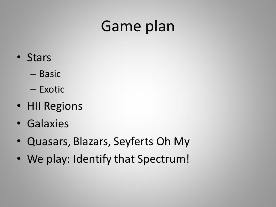 Game plan Stars – Basic – Exotic HII Regions Galaxies Quasars, Blazars, Seyferts Oh My We play: Identify that Spectrum!