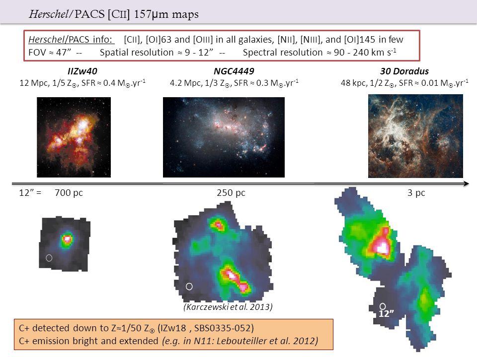 12 IIZw40 12 Mpc, 1/5 Z , SFR ≈ 0.4 M .yr -1 NGC4449 4.2 Mpc, 1/3 Z , SFR ≈ 0.3 M .yr -1 30 Doradus 48 kpc, 1/2 Z , SFR ≈ 0.01 M .yr -1 12 = 700 pc 250 pc 3 pc (Karczewski et al.