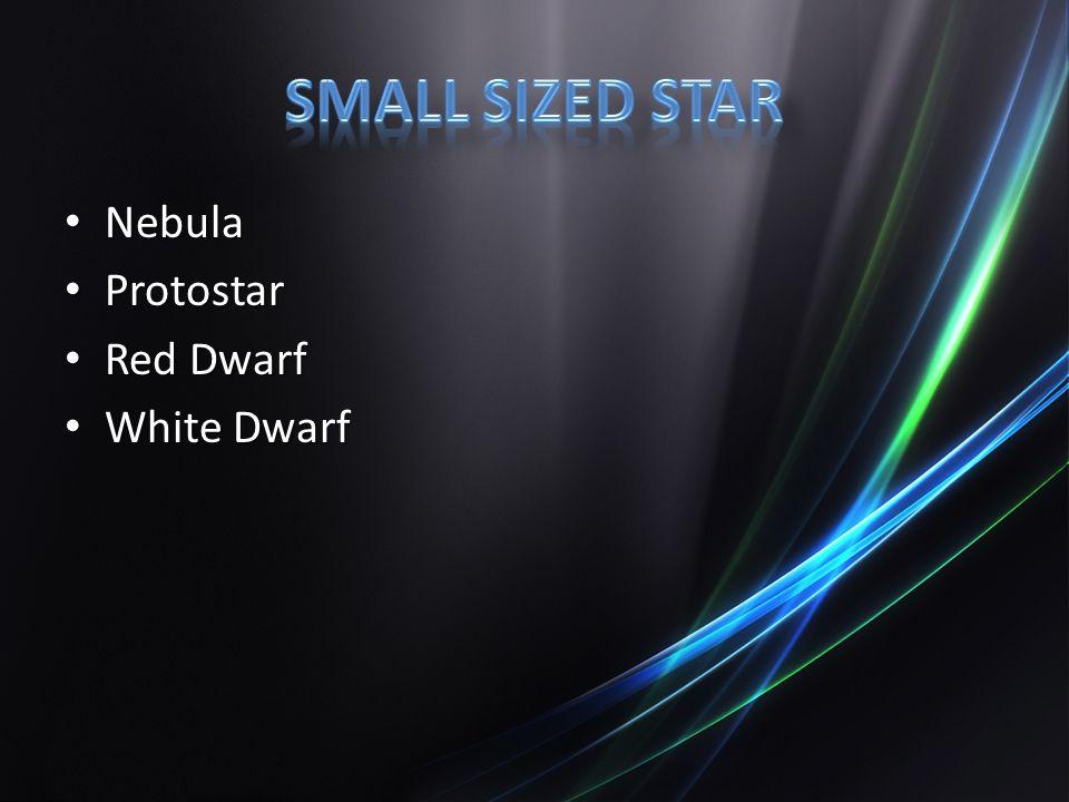 Nebula Nebula Protostar Protostar Red Dwarf Red Dwarf White Dwarf White Dwarf