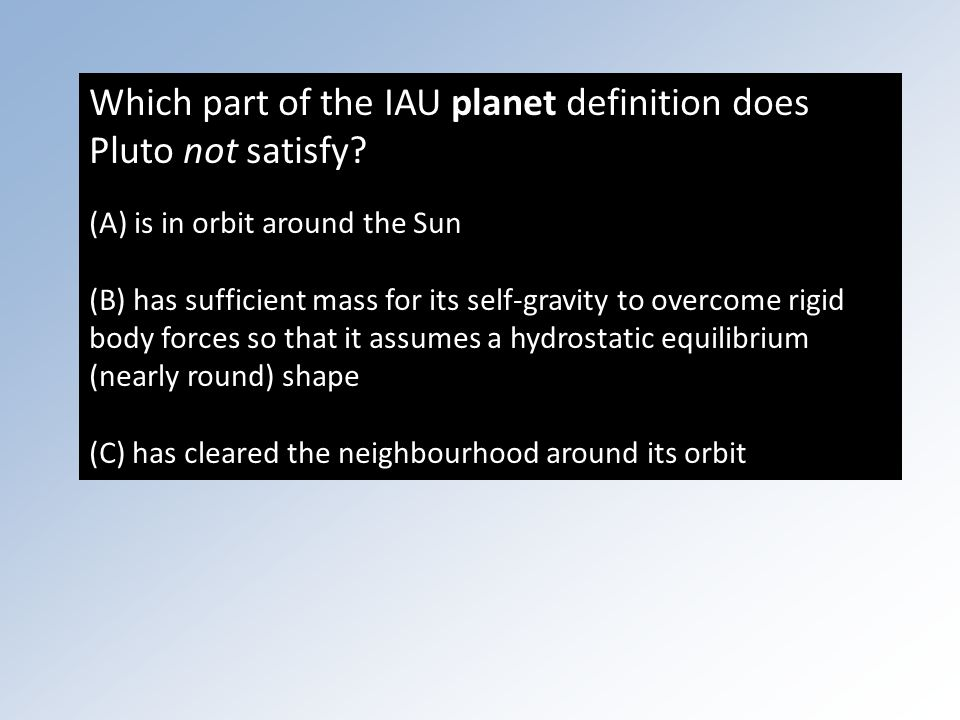 Which part of the IAU planet definition does Pluto not satisfy.