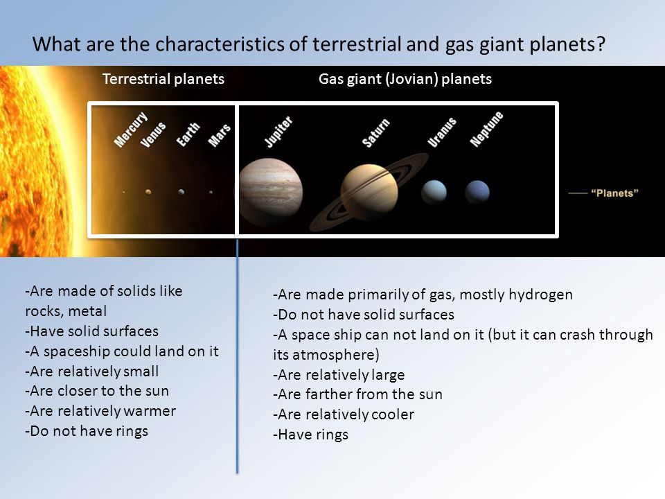 What are the characteristics of terrestrial and gas giant planets.