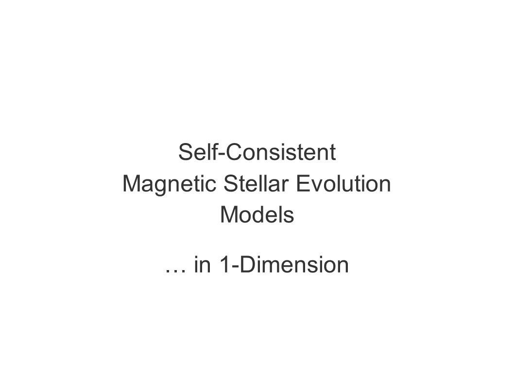 Self-Consistent Magnetic Stellar Evolution Models … in 1-Dimension