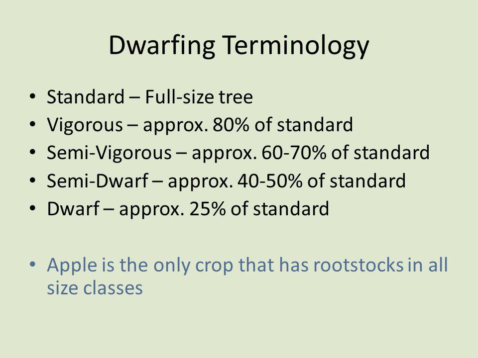 Dwarfing Terminology Standard – Full-size tree Vigorous – approx. 80% of standard Semi-Vigorous – approx. 60-70% of standard Semi-Dwarf – approx. 40-5