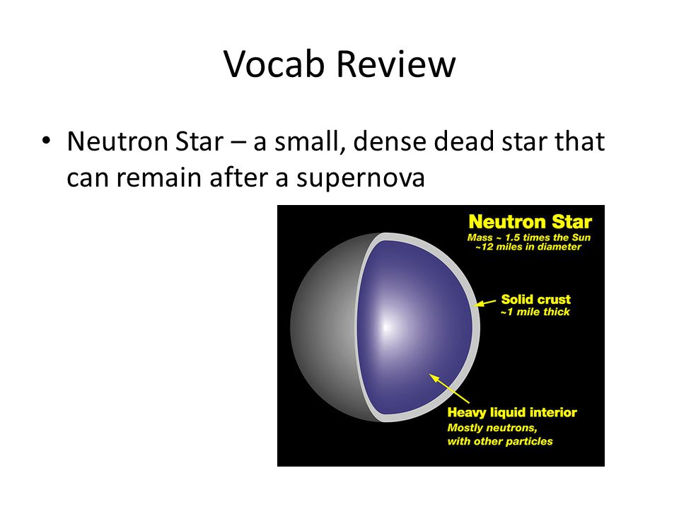 Vocab Review Neutron Star – a small, dense dead star that can remain after a supernova