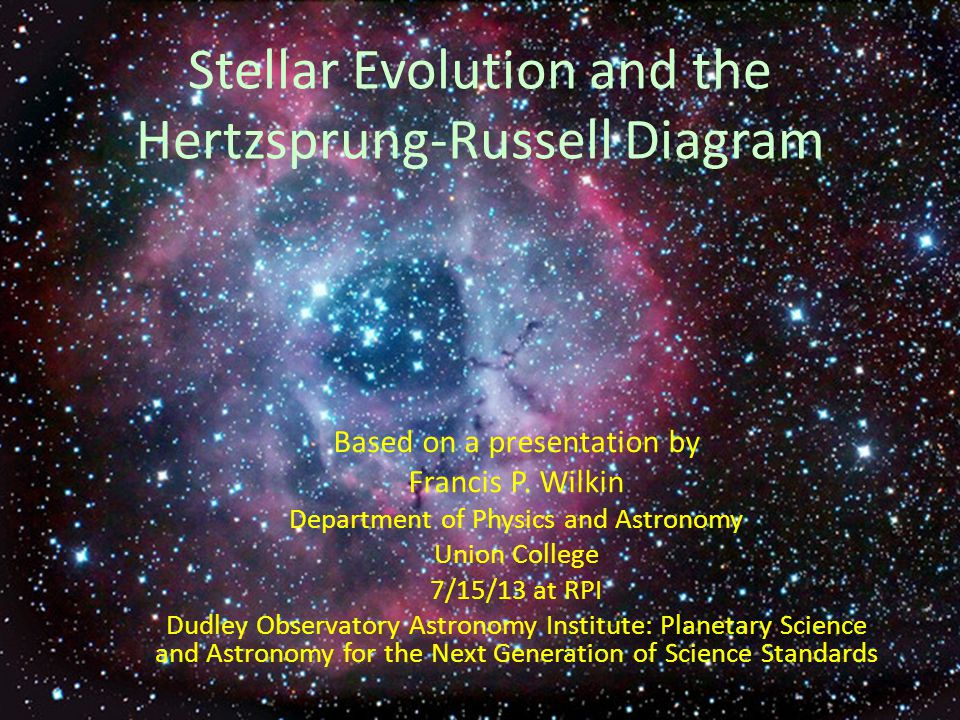 Stellar Evolution and the Hertzsprung-Russell Diagram Based on a presentation by Francis P. Wilkin Department of Physics and Astronomy Union College 7