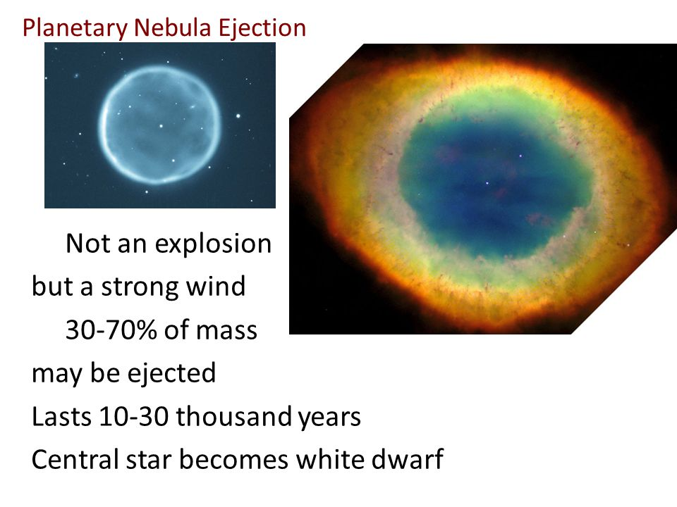 Planetary Nebula Ejection Not an explosion but a strong wind 30-70% of mass may be ejected Lasts 10-30 thousand years Central star becomes white dwarf