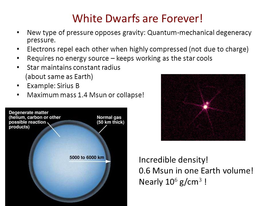 White Dwarfs are Forever! New type of pressure opposes gravity: Quantum-mechanical degeneracy pressure. Electrons repel each other when highly compres