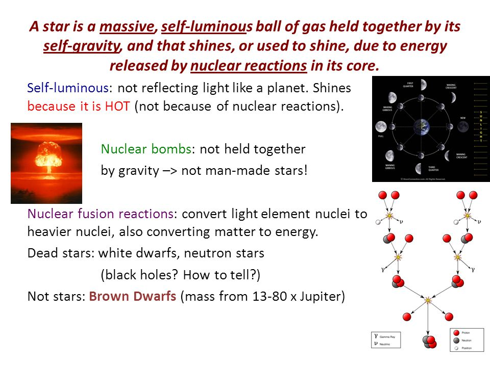 How a Star Works in Four Ideas Energy escapes from the photosphere (surface) as light at the location where the atmosphere becomes transparent Energy is liberated in the core by nuclear fusion reactions (usually converting Hydrogen to Helium: protons to alpha particles).