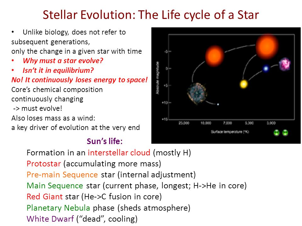 Stellar Evolution: The Life cycle of a Star Unlike biology, does not refer to subsequent generations, only the change in a given star with time Why must a star evolve.