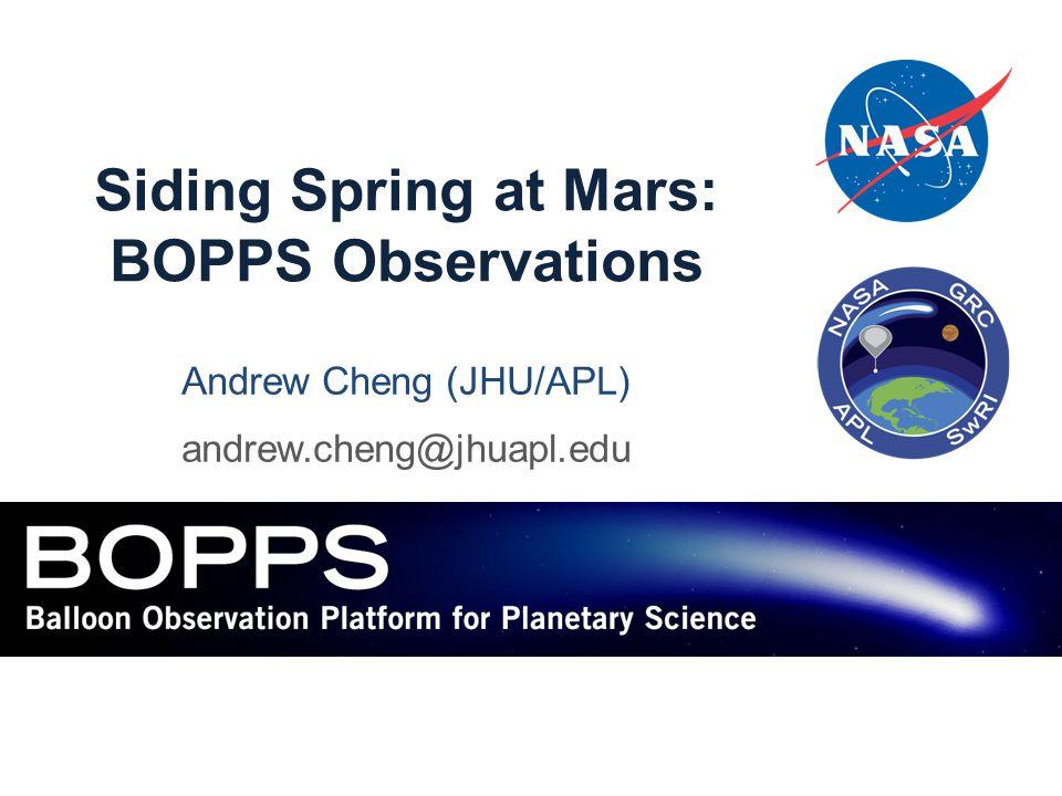 Siding Spring at Mars: BOPPS Observations Andrew Cheng (JHU/APL) andrew.cheng@jhuapl.edu