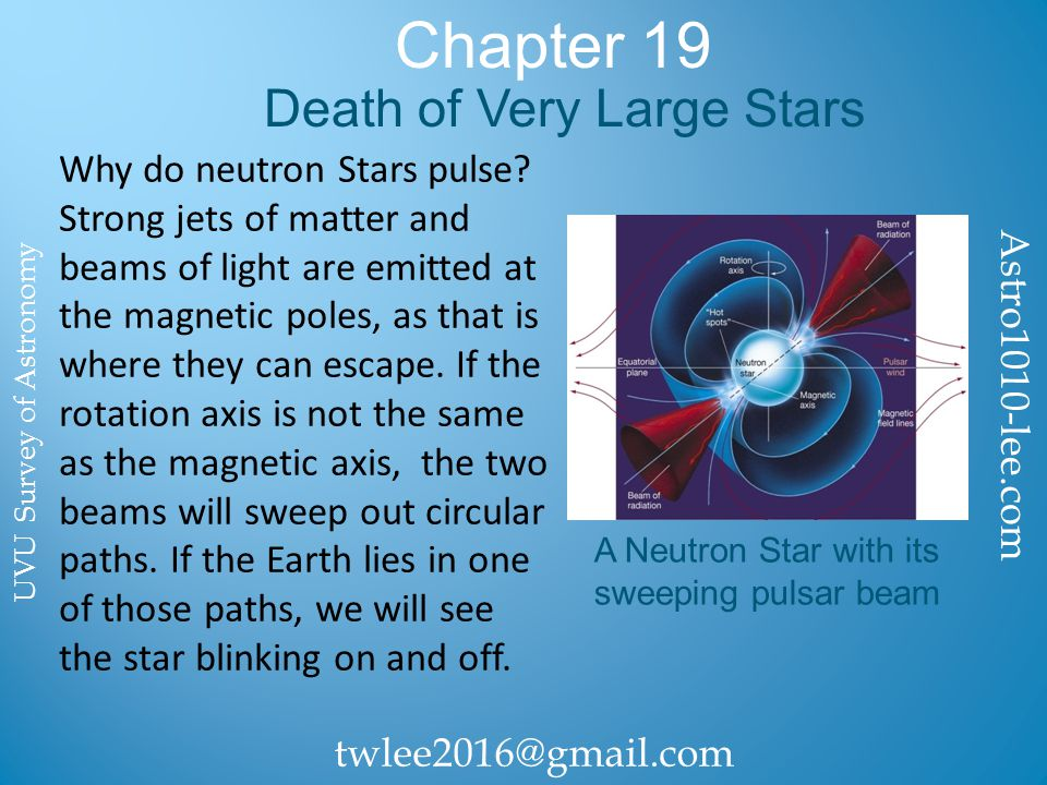 Chapter 19 Death of Very Large Stars Why do neutron Stars pulse.