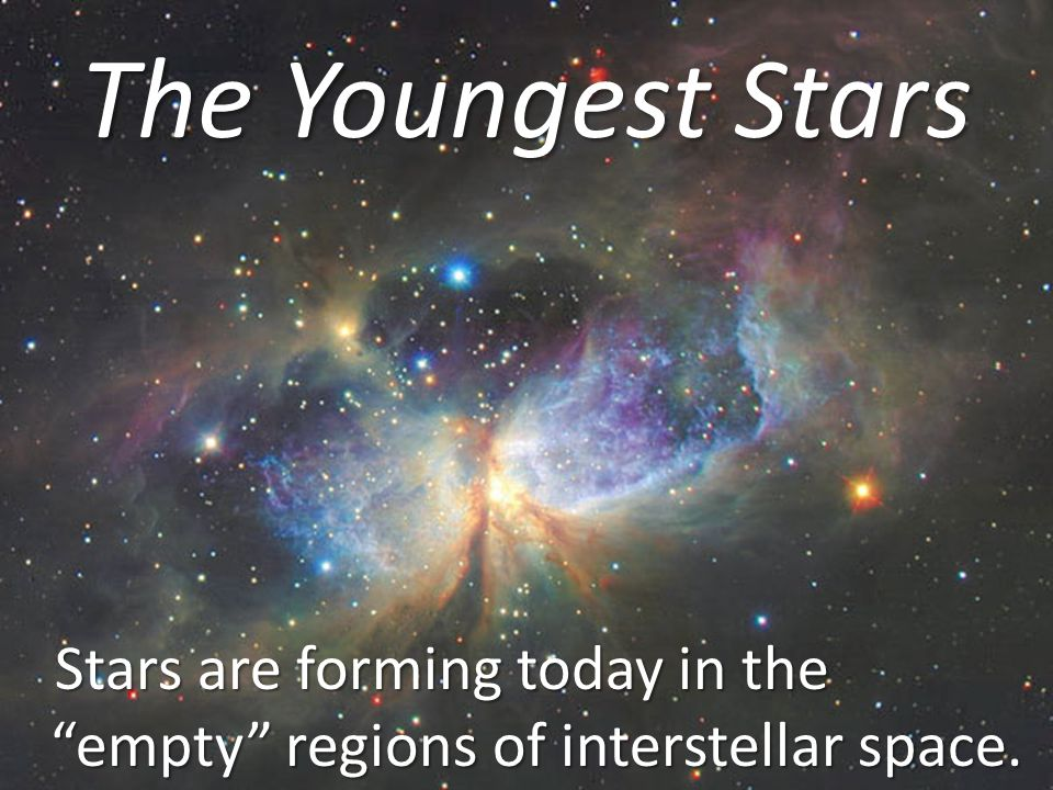 "The Youngest Stars Stars are forming today in the ""empty"" regions of interstellar space. Stars are forming today in the ""empty"" regions of interstella"