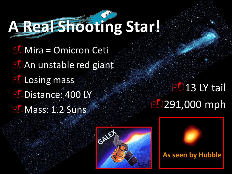 A Real Shooting Star!  Mira = Omicron Ceti  An unstable red giant  Losing mass  Distance: 400 LY  Mass: 1.2 Suns  13 LY tail  291,000 mph GALEX