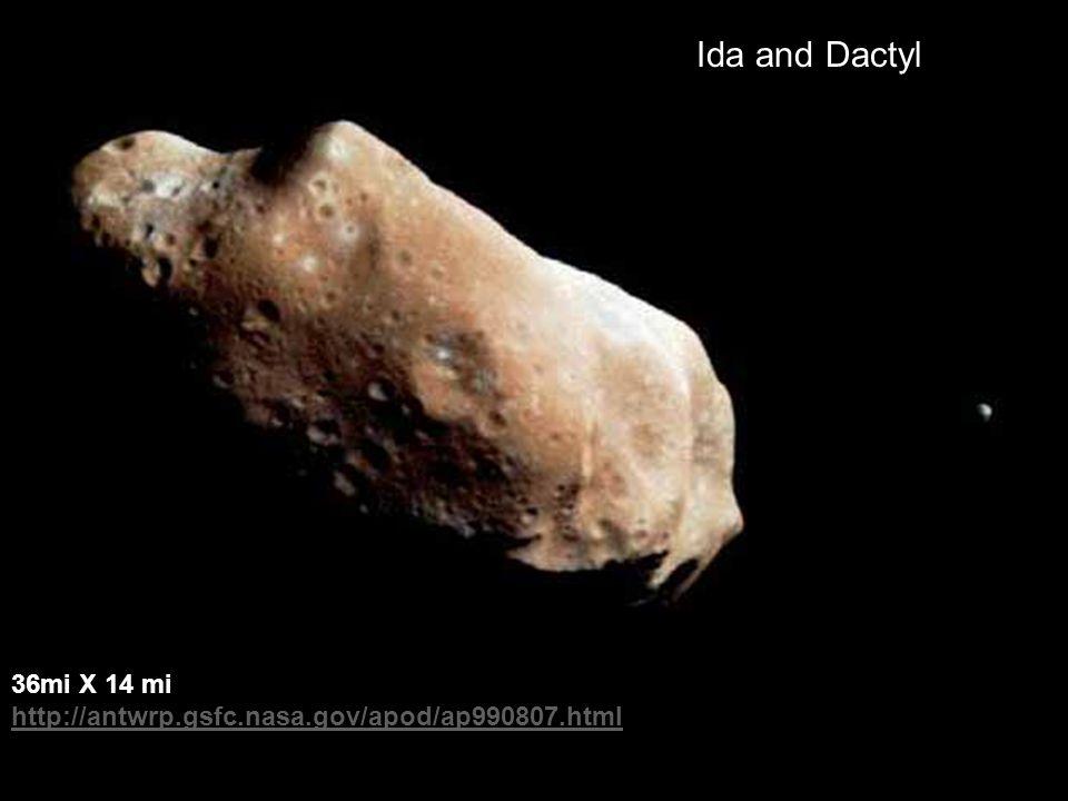 36mi X 14 mi http://antwrp.gsfc.nasa.gov/apod/ap990807.html Ida and Dactyl