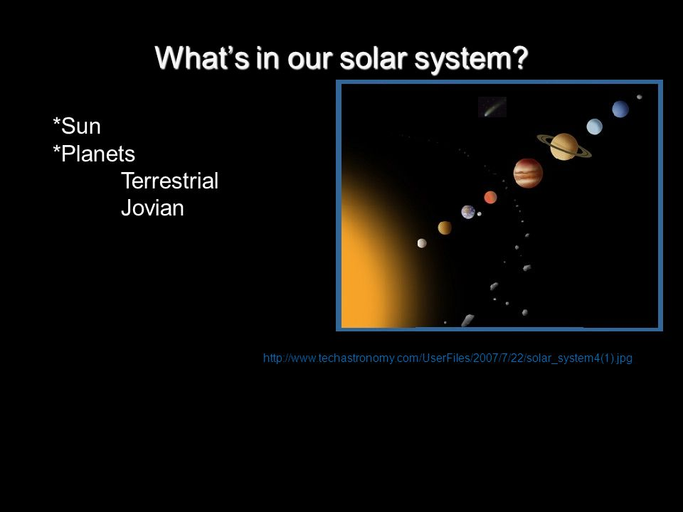 What's in our solar system? http://www.techastronomy.com/UserFiles/2007/7/22/solar_system4(1).jpg *Sun *Planets Terrestrial Jovian
