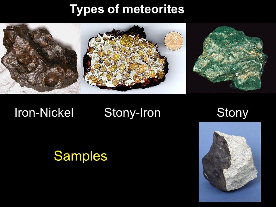 Samples Iron-Nickel Types of meteorites Stony-IronStony