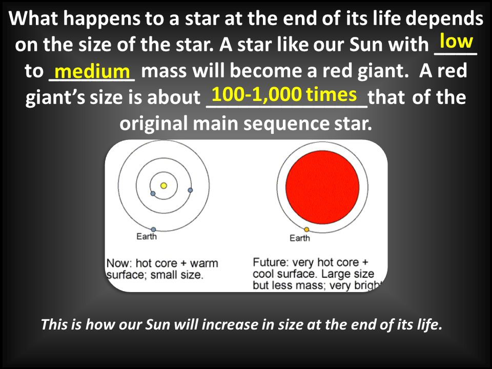 What happens to a star at the end of its life depends on the size of the star. A star like our Sun with ____ to ________ mass will become a red giant.