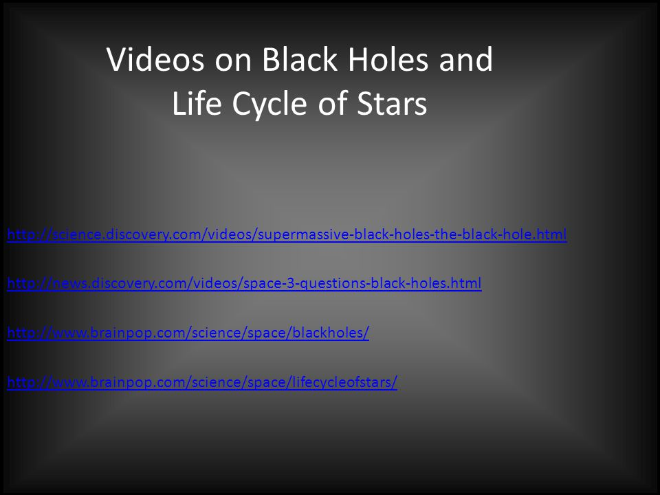 Videos on Black Holes and Life Cycle of Stars http://science.discovery.com/videos/supermassive-black-holes-the-black-hole.html http://news.discovery.c