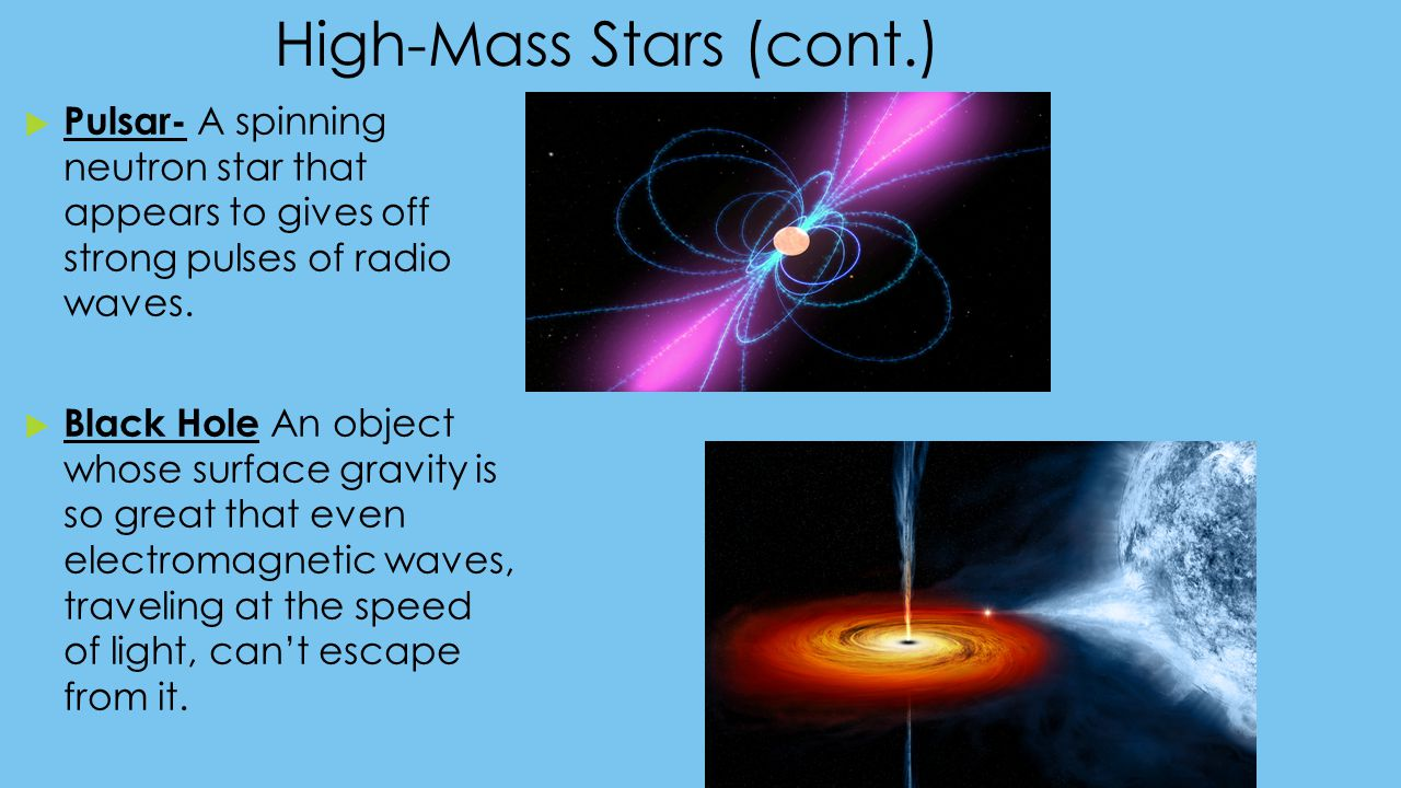 High-Mass Stars (cont.)  Pulsar- A spinning neutron star that appears to gives off strong pulses of radio waves.  Black Hole An object whose surface
