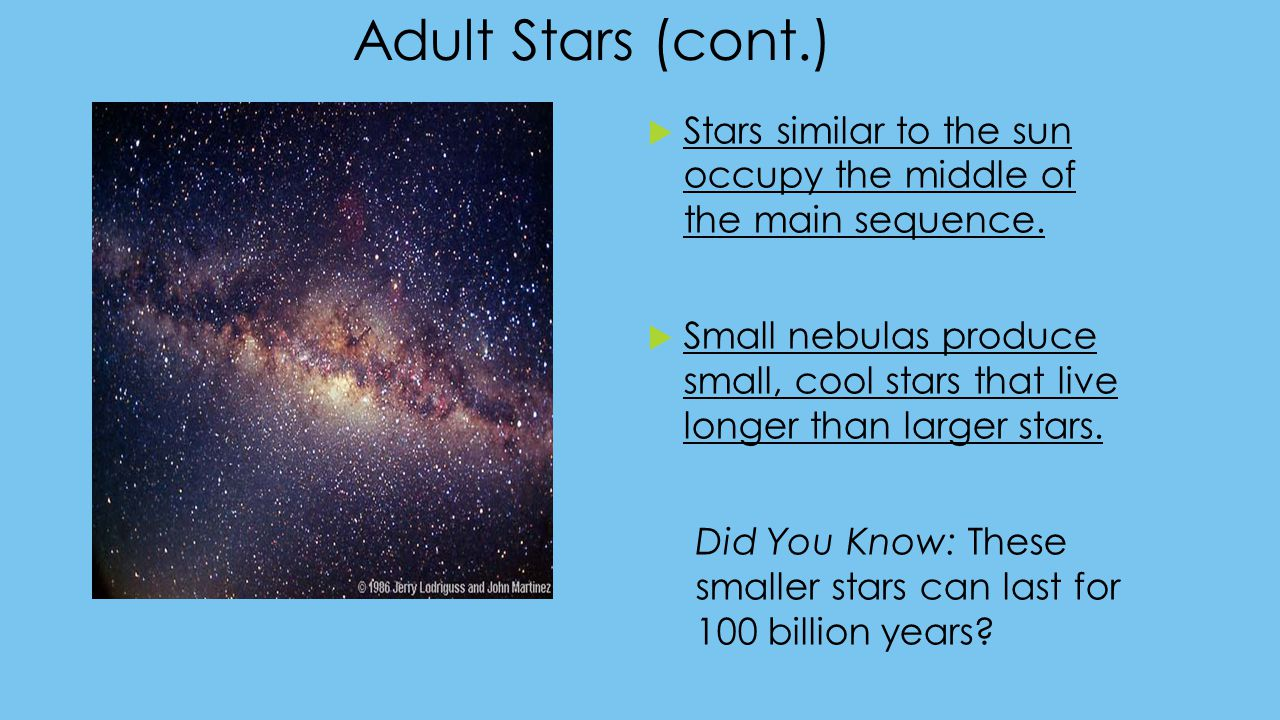 Adult Stars (cont.)  Stars similar to the sun occupy the middle of the main sequence.  Small nebulas produce small, cool stars that live longer than
