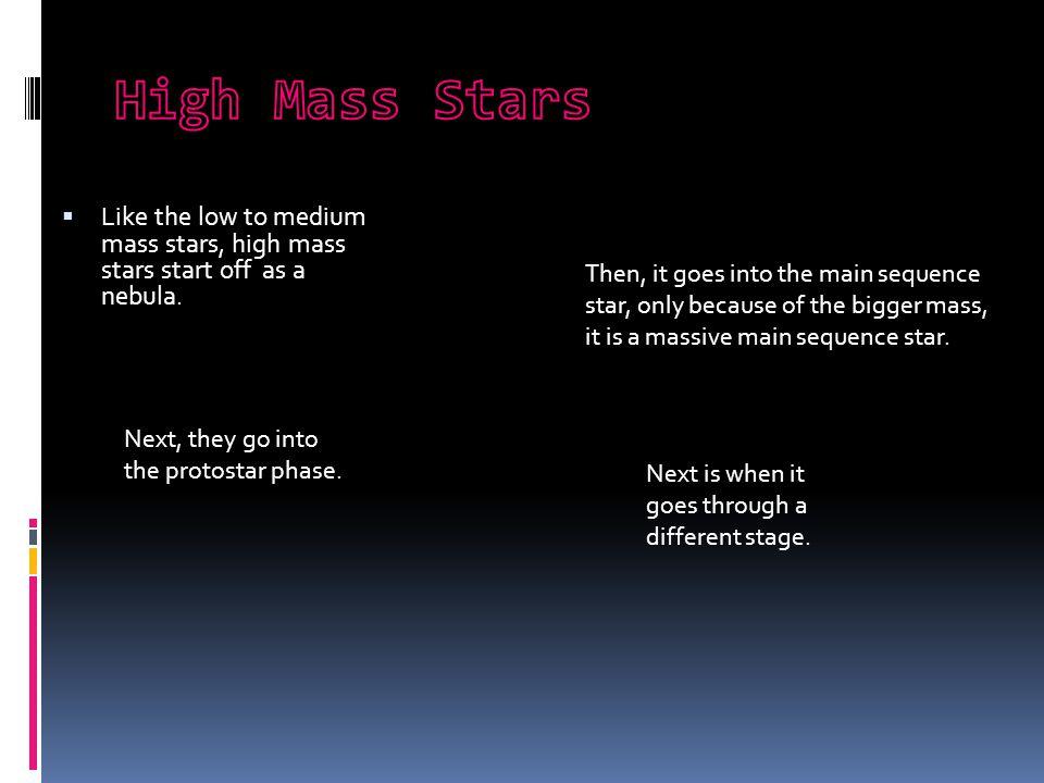  Like the low to medium mass stars, high mass stars start off as a nebula.
