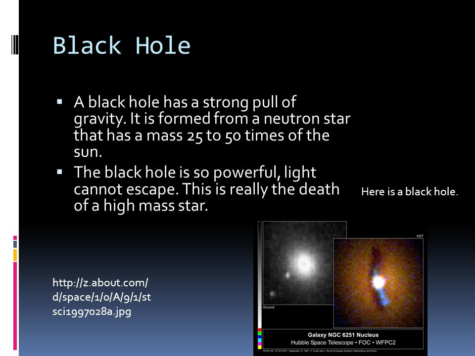 Black Hole  A black hole has a strong pull of gravity.