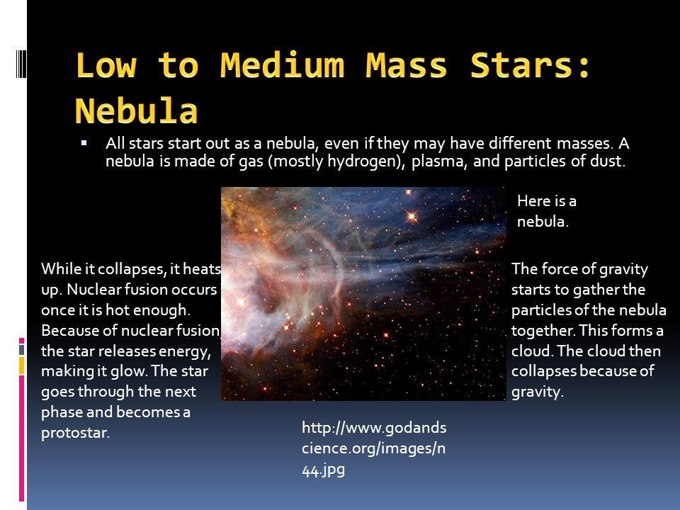  All stars start out as a nebula, even if they may have different masses.