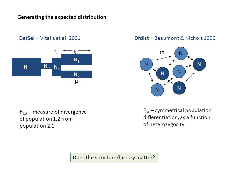 Generating the expected distribution NeNe DetSel – Vitalis et al. 2001 N0N0 N1N1 N2N2 t μ NeNe toto F 1,2 – measure of divergence of population 1,2 fr