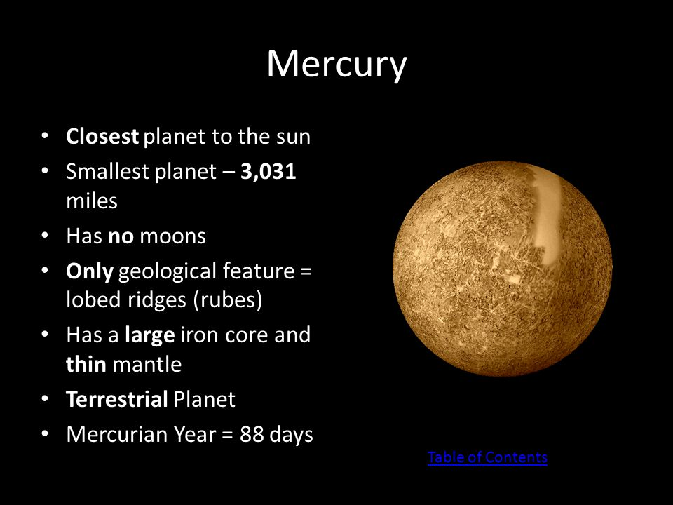 Pluto (A dwarf planet) Also known as plutoid Classified as a dwarf in 2006 Usually orbits past the orbit of Neptune The diameter is 1,413 miles Smallest planet Only one to not yet be visited by humans Has one large moon called Charon (shown in picture in white) Table of Contents