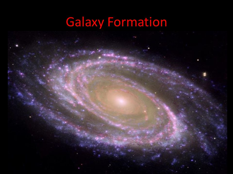 Galaxy Formation Galaxy formation is hypothesized to occur as a result of tiny quantum fluctuations in the aftermath of the Big Bang.