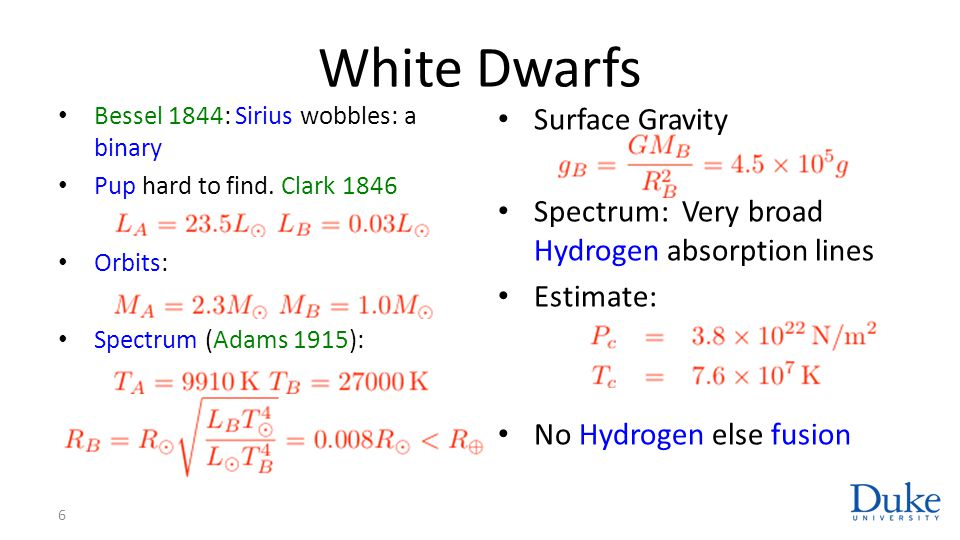 Degenerate Matter White dwarves are the degenerate cores of stars with Composition is Carbon Oxygen Masses Significant mass loss Chandrasekhar: Relativity: 7