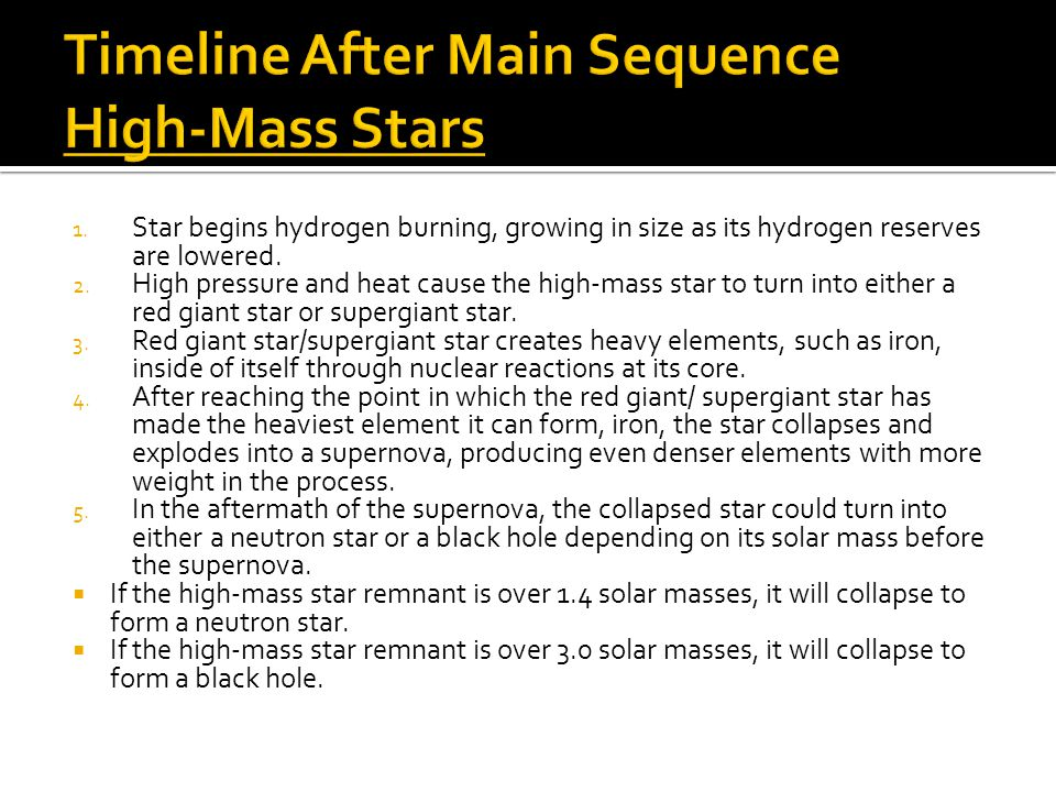 1. Star begins hydrogen burning, growing in size as its hydrogen reserves are lowered.