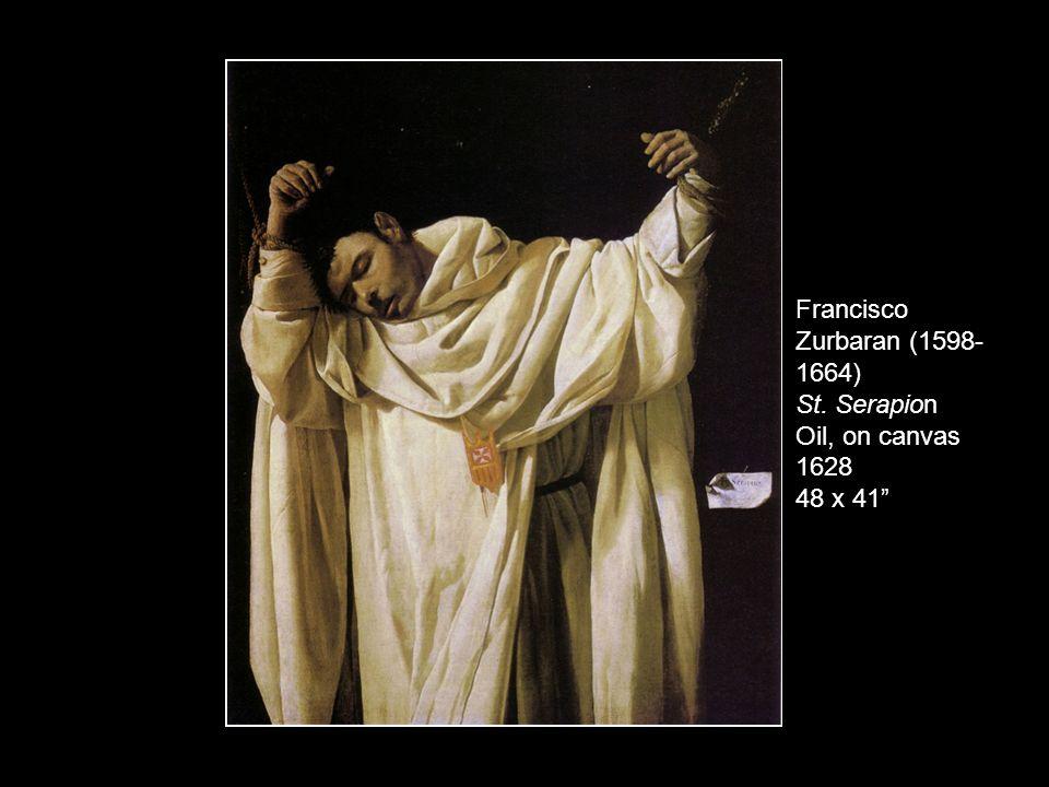"Francisco Zurbaran (1598- 1664) St. Serapion Oil, on canvas 1628 48 x 41"""