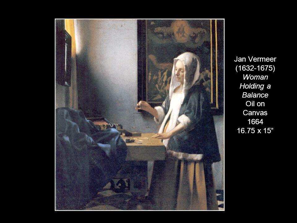 "Jan Vermeer (1632-1675) Woman Holding a Balance Oil on Canvas 1664 16.75 x 15"""