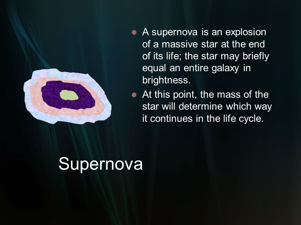 Supernova A supernova is an explosion of a massive star at the end of its life; the star may briefly equal an entire galaxy in brightness. At this poi