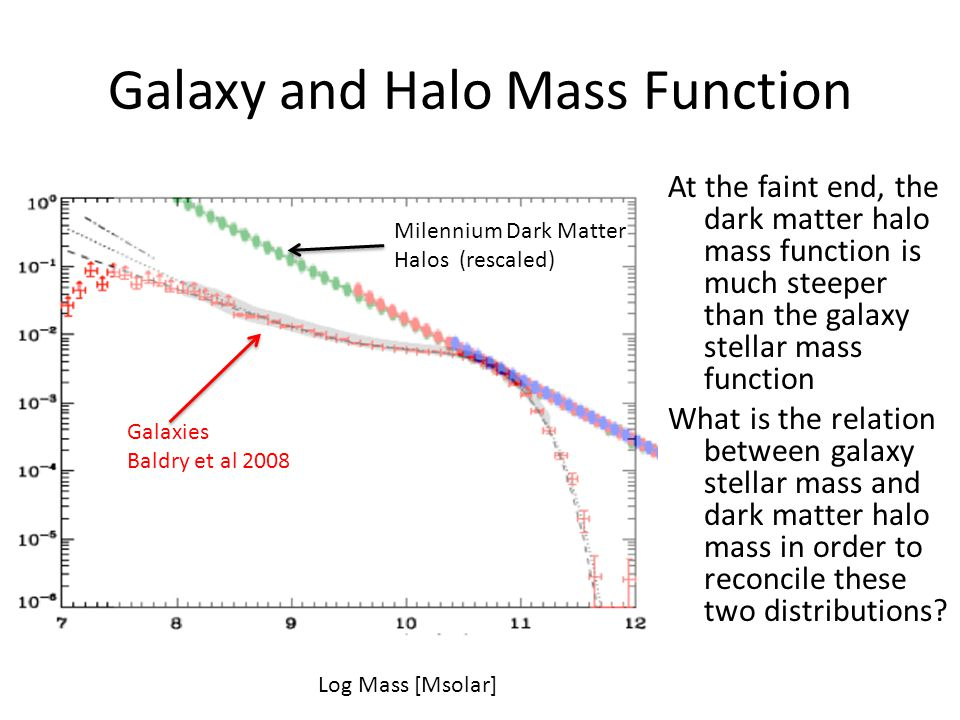 Galaxy and Halo Mass Function At the faint end, the dark matter halo mass function is much steeper than the galaxy stellar mass function What is the r