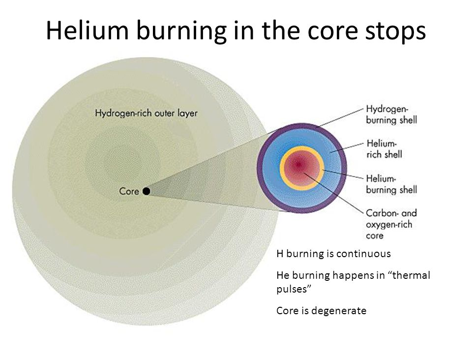 """Helium burning in the core stops H burning is continuous He burning happens in """"thermal pulses"""" Core is degenerate"""