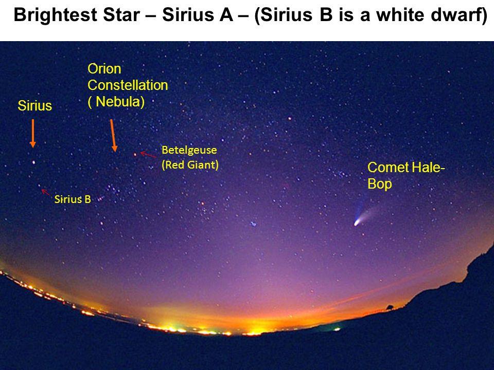 Sirius Comet Hale- Bop Orion Constellation ( Nebula) Brightest Star – Sirius A – (Sirius B is a white dwarf) Sirius B Betelgeuse (Red Giant)