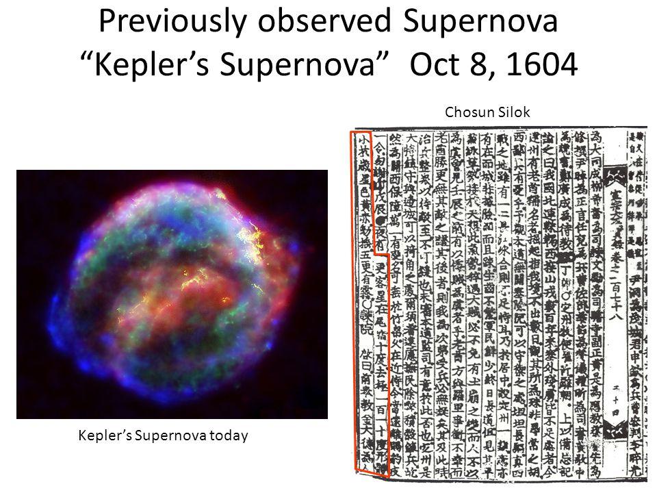 """Previously observed Supernova """"Kepler's Supernova"""" Oct 8, 1604 Kepler's Supernova today Chosun Silok"""