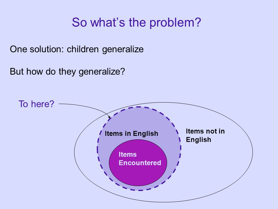 So what's the problem. One solution: children generalize But how do they generalize.