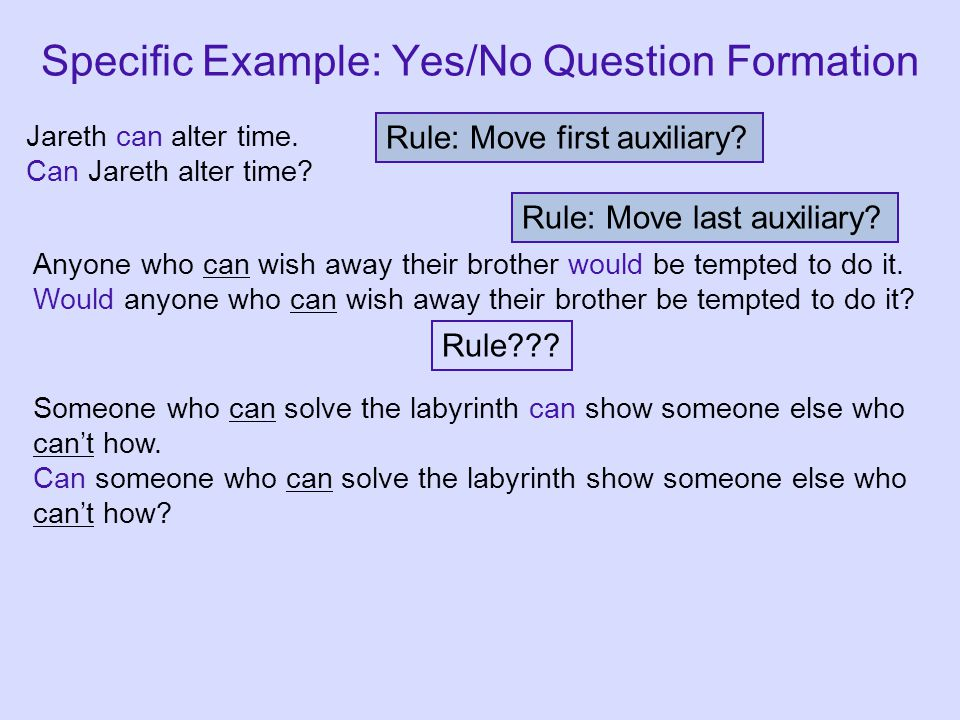 Rule: Move first auxiliary? Rule??? Rule: Move last auxiliary? Specific Example: Yes/No Question Formation Jareth can alter time. Can Jareth alter tim