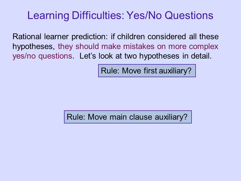 Learning Difficulties: Yes/No Questions Rational learner prediction: if children considered all these hypotheses, they should make mistakes on more co