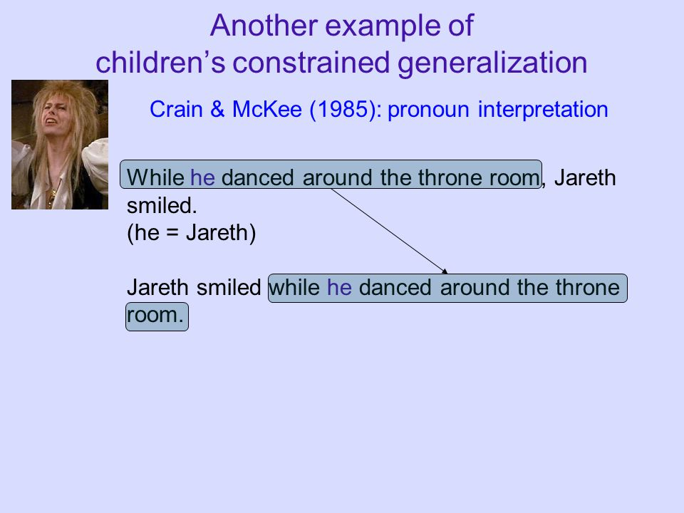 Another example of children's constrained generalization While he danced around the throne room, Jareth smiled. (he = Jareth) Jareth smiled while he d